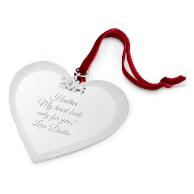 2014 Engraved Classic Christmas Heart Ornament - All Christmas Ornaments