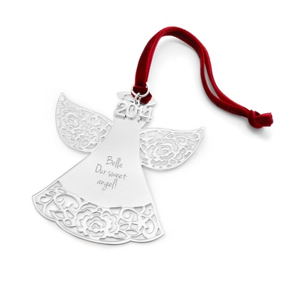 Personalized 2014 engraved classic angel christmas for Custom engraved christmas ornaments