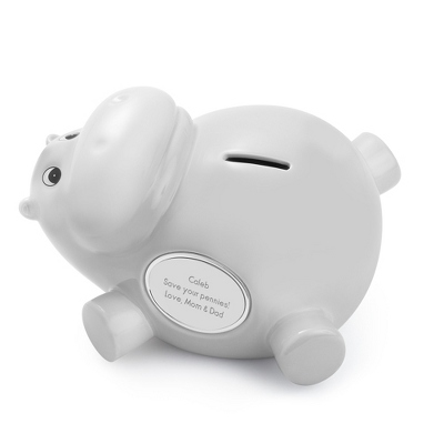 Grey Ceramic Hippo Bank