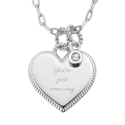 Platinum Dipped Heart Necklace with CZ Accent with complimentary Filigree Keepsake Box - Fashion Necklaces