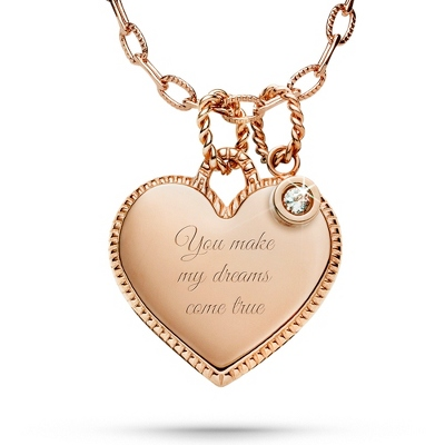 Rose Gold Engraved Necklace with CZ Accent with complimentary Filigree Keepsake Box