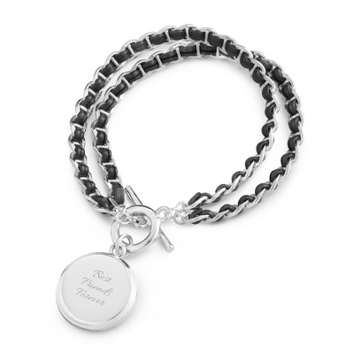 Silver Plated Grey Leather Woven Chain Bracelet - UPC 825008027367