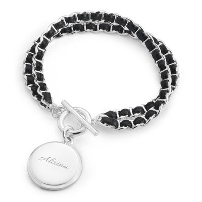 Silver Plated Black Leather Woven Chain Bracelet - $40.00