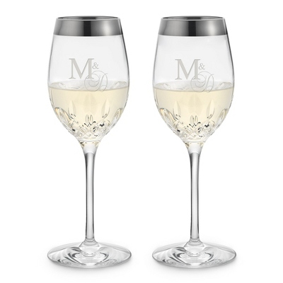 Waterford Lismore Essence Platinum Rim White Wine Glasses