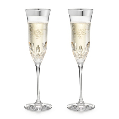 Waterford Lismore Essence Platinum Rim Champagne Flutes - $190.00