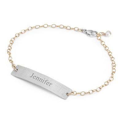Sterling Silver & 14K Gold Petite ID Bracelet with complimentary Filigree Keepsake Box - Sterling Silver Women's Jewelry
