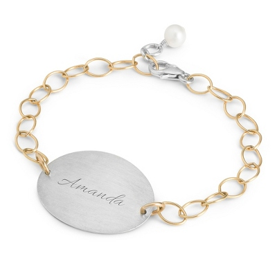 Sterling Silver & 14K Gold Wide Oval ID Bracelet with complimentary Filigree Keepsake Box - Sterling Silver Women's Jewelry