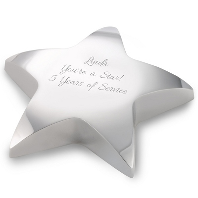 Silver Star Paperweight - Top Holiday Business Gifts