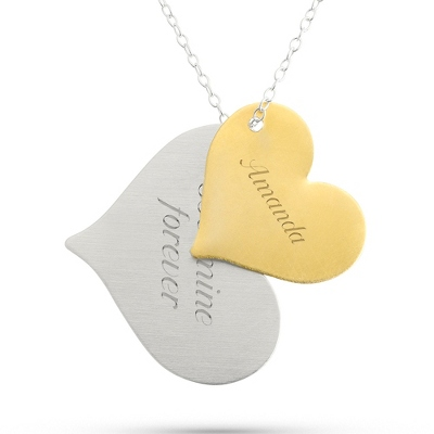 Sterling Silver 2-Tone Double Heart Necklace with complimentary Filigree Keepsake Box - Bridesmaid Jewelry