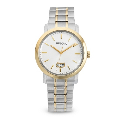 Men's Bulova Two Tone Dress Watch 98B214 with complimentary Black Lacquer Wrist Watch Box - $350.00