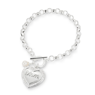 Polished Silver Mom Locket Bracelet with complimentary Filigree Keepsake Box