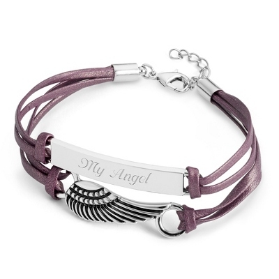 Angel Wing Leather ID Bracelet with complimentary Filigree Keepsake Box