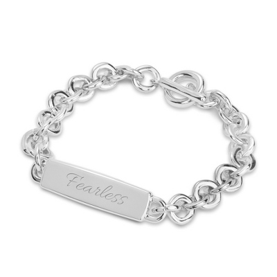 Silver Classic Personalized ID Bracelet with complimentary Filigree Keepsake Box - UPC 825008028425