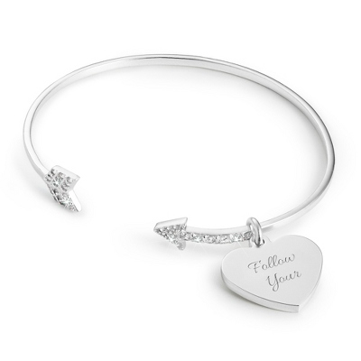 Personalized Arrow Open Bangle Bracelet with complimentary Classic Beveled Edge Round Keepsake Box