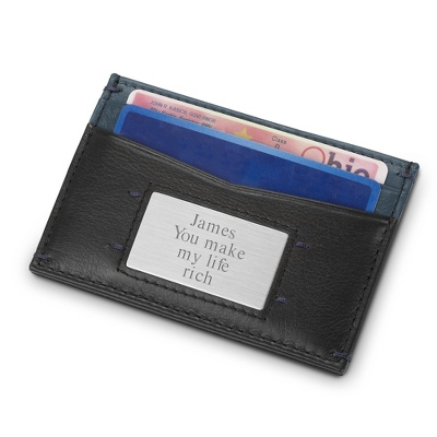 Black & Blue Leather Duo Money Clip Wallet with complimentary Secret Message Card