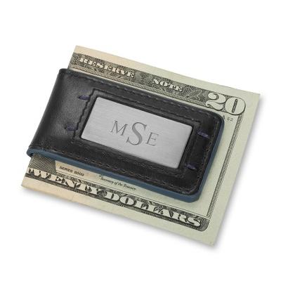Black & Blue Leather Money Clip
