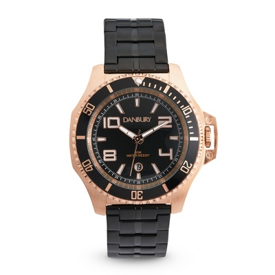 Black and Rose Gold Engraved Wrist Watch