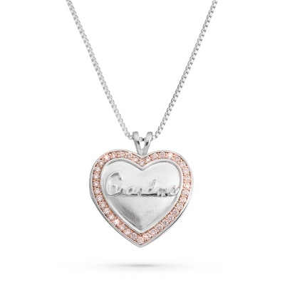 Pink CZ Grandma Locket with complimentary Filigree Keepsake Box