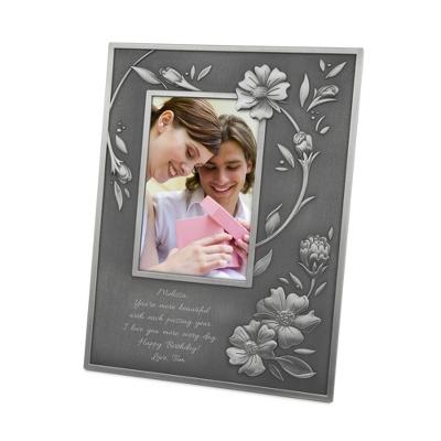 Tribeca Pewter Finish Floral Frame - Frames for Her
