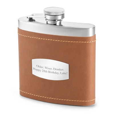 Camel Brown Engraved Flask