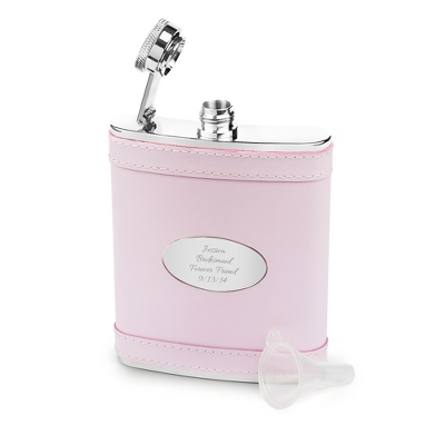 Engraved Pink Leather Flask - UPC 825008029026