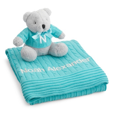 Personalized Aqua Knit Blanket and Bear Set by Things Remembered
