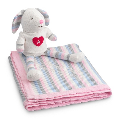 Personalized Multi Stripe Blanket and Bunny Set by Things Remembered
