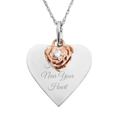 .05 ct. Diamond Rose Flower Necklace - $150.00