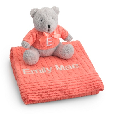 Personalized Melon Knit Blanket and Bear Set by Things Remembered