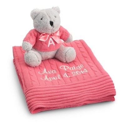 Personalized Raspberry Knit Blanket and Bear Set by Things Remembered