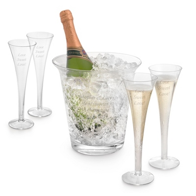 Engraved Champagne Toasting Flutes and Ice Bucket