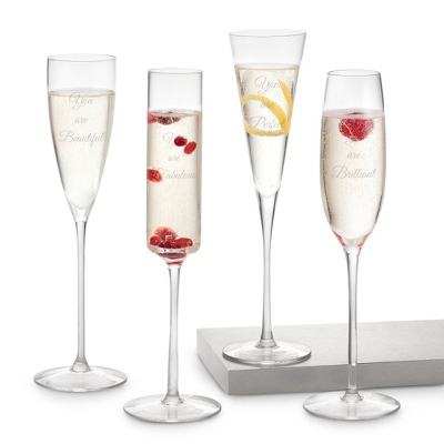 Summer Night Engraved Champagne Glasses