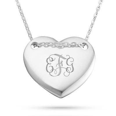 Sterling Silver Polished Heart Necklace with complimentary Filigree Keepsake Box - UPC 825008030541