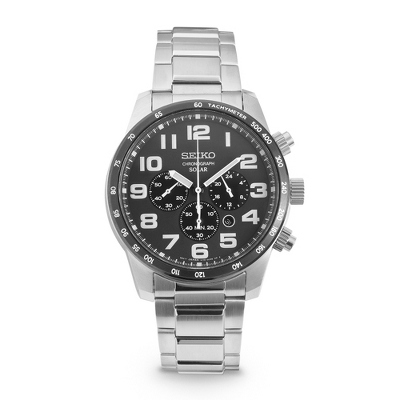 Seiko Solar Chronograph Watch SSC229 with complimentary Black Lacquer Wrist Watch Box - $325.00
