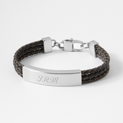 Triple Brown Wrapped Leather ID Bracelet with complimentary Tri Tone Valet Box