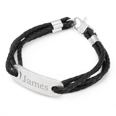 Multi Wrap Leather Cord ID Bracelet with complimentary Tri Tone Valet Box - Men's Accessories