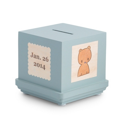 Blue Classic Wooden Baby Bank - $45.00
