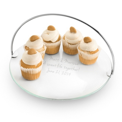 Large Engraved Cake Plate with Removable Handle