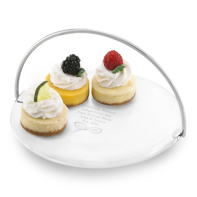 Small Engraved Cake Plate with Removable Handle