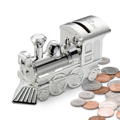 Silver Plated Child's Train Bank - $25.00