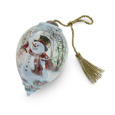 Hand Painted Snowman and Cardinal Christmas Ornament - All Christmas Ornaments