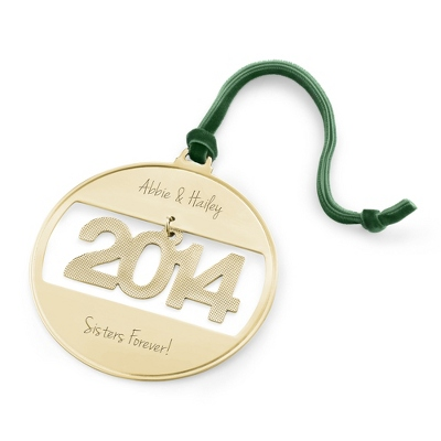 2014 Personalized Gold Ball Ornament