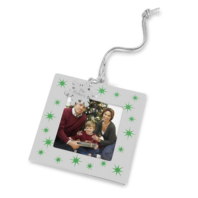 Silver and Green Snowflake Frame Ornament - All Christmas Ornaments