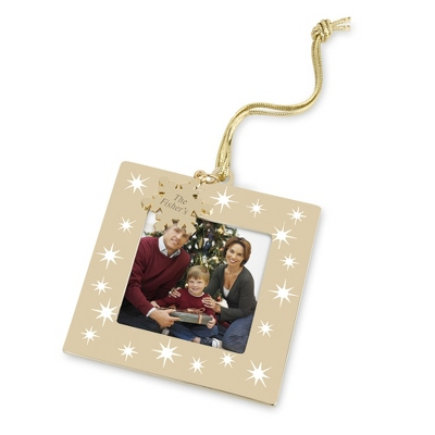 Gold and White Snowflake Frame Ornament