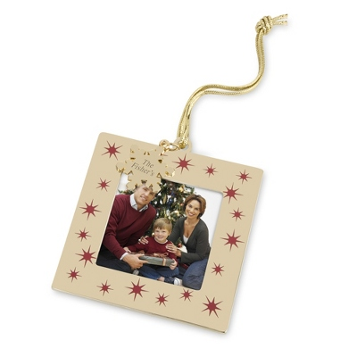 Gold and Red Snowflake Frame Ornament