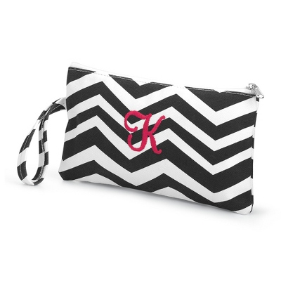 Black Chevron Embroidered Clutch