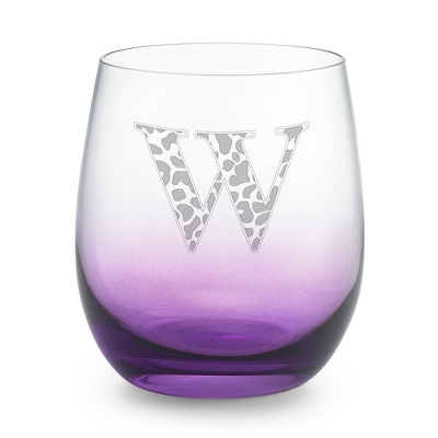 Purple Personalized Glass Tumbler - Barware & Accessories