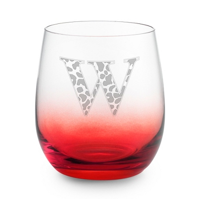 Red Personalized Glass Tumbler - Barware & Accessories
