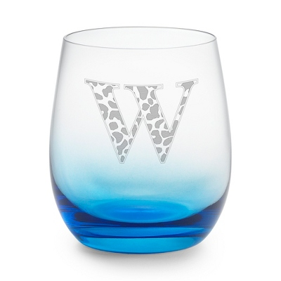 Blue Personalized Glass Tumbler
