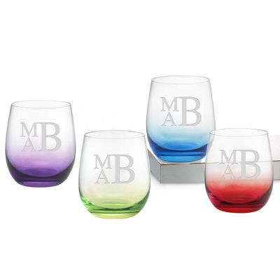 Set of Four Color Personalized Glass Tumblers with Monogram